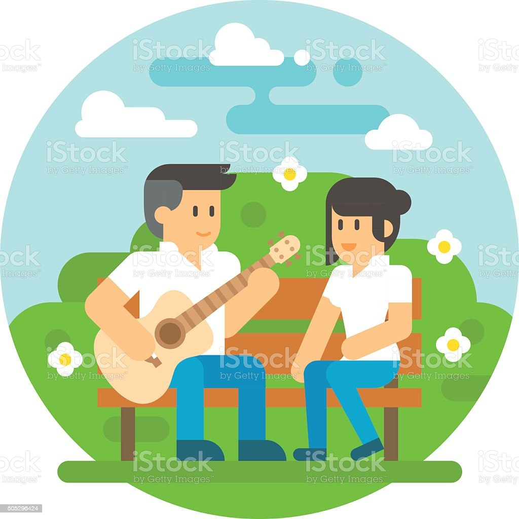 Flat design couple playing guitar vector art illustration
