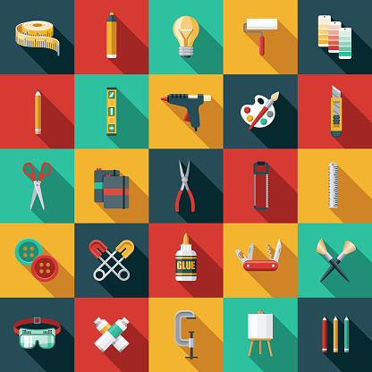 Flat Design Craft Supplies Icon Set