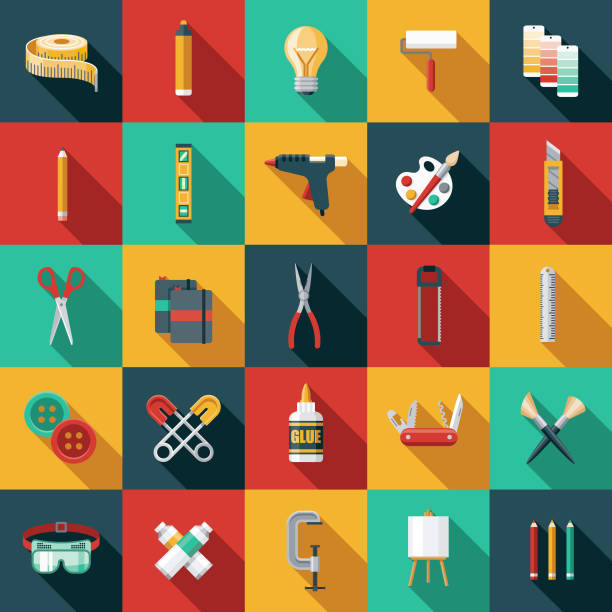 Flat Design Craft Supplies Icon Set A flat design styled craft supplies icon with a long side shadow. Color swatches are global so it's easy to edit and change the colors. diy stock illustrations
