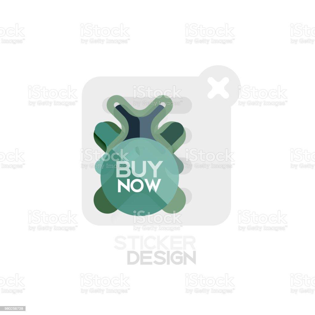 Flat Design Cross Shape Geometric Sticker Icon Paper Style Design