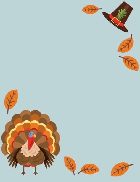 flat design cute autumn background - turkey stock illustrations