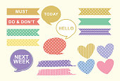 cute label, pattern, simple, colourful, Vector illustration