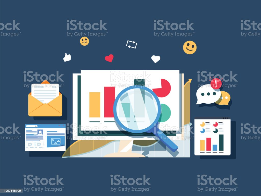 Flat design Data marketing, analytics, search data, website traffic analysis vector banner. Diagram analysis vector art illustration