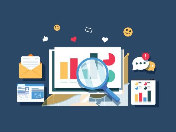平面設計資料行銷, 分析, 搜索資料, 網站流量分析向量橫幅。圖示分析 - traffic 幅插畫檔、美工圖案、卡通及圖標