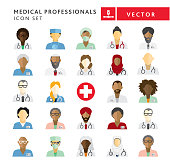 Vector illustration of a Flat Design Diverse Medical Professionals people themed Icon Set cut out style. Vector eps 10, fully editable.