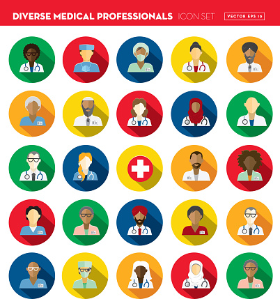 Flat Design Diverse Medical Professionals themed Icon Set with shadow