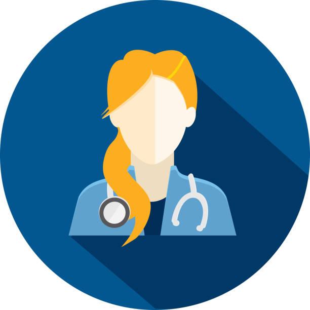 illustrazioni stock, clip art, cartoni animati e icone di tendenza di flat design diverse medical professionals themed icon with shadow - dottoressa