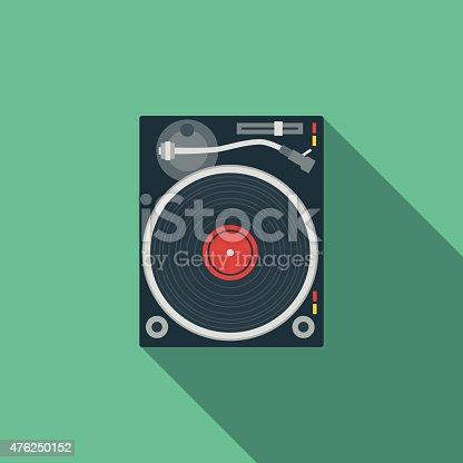 istock Flat Design DJ Turntable Icon With Long Shadow 476250152