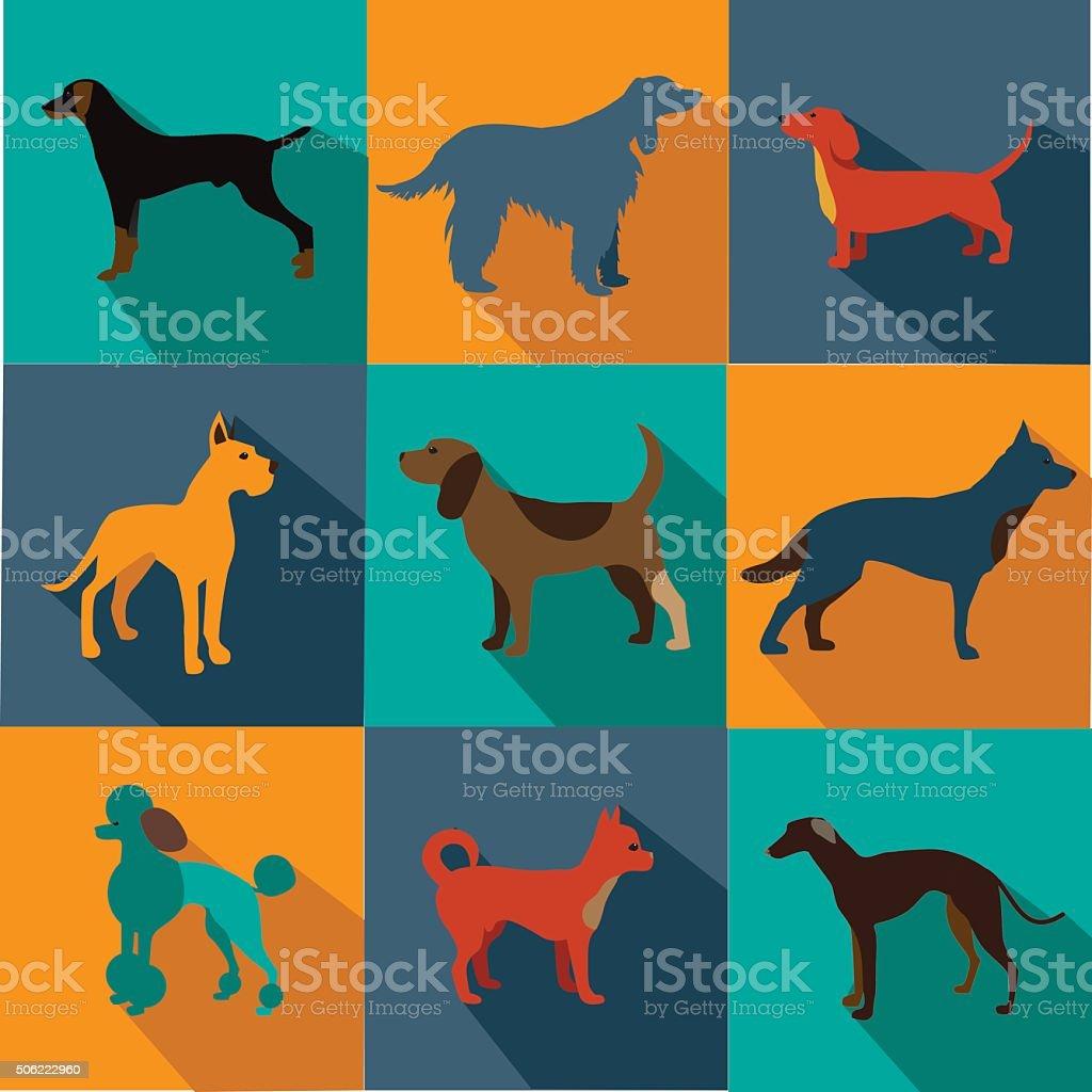 Flat design dog icon set vector art illustration