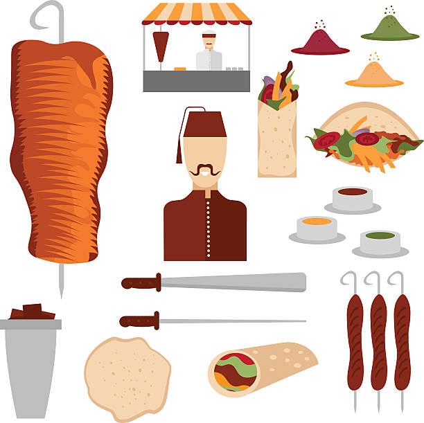 doner kebab flache design-elemente und koch - döner stock-grafiken, -clipart, -cartoons und -symbole