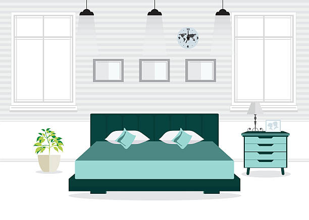 Flat Design Double Bedroom with furniture. Flat Design Double Bedroom with furniture, Bedroom interior, conceptual Vector illustration. bedroom borders stock illustrations