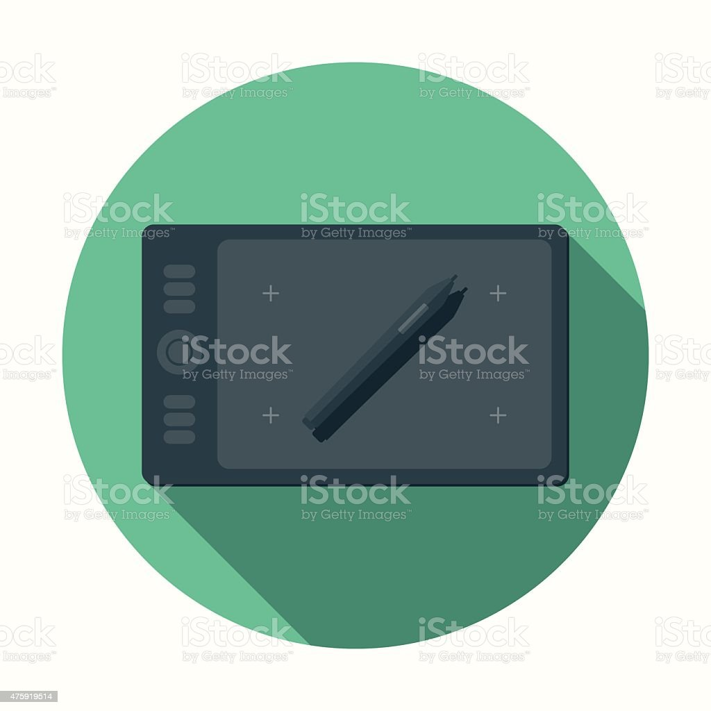 Flat Design Drawing Tablet Icon With Long Shadow vector art illustration