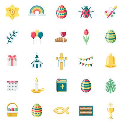 Flat Design Easter Icon Set