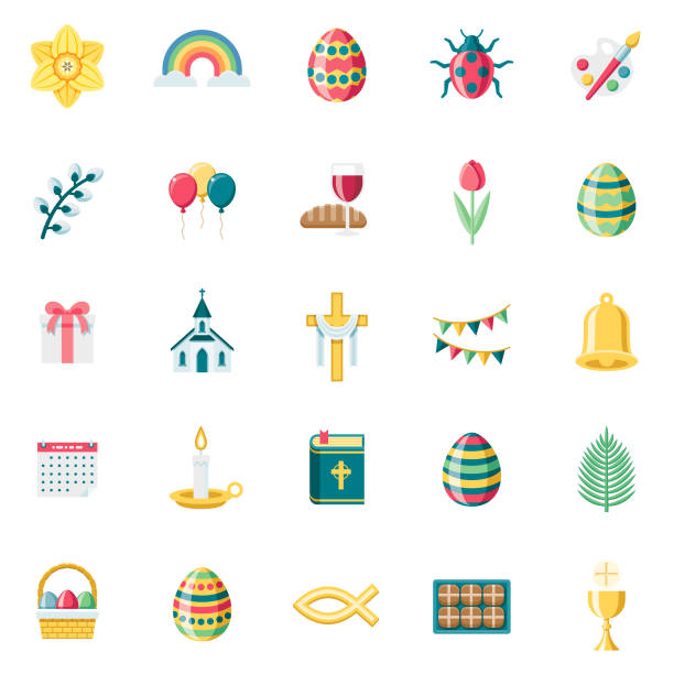 Flat Design Easter Icon Set A set of 25 Easter flat design icons on a transparent background. File is built in the CMYK color space for optimal printing. Color swatches are Global for quick and easy color changes. bread clipart stock illustrations