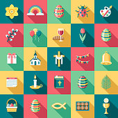 A set of flat design styled Easter icons with a long side shadow. Color swatches are global so it's easy to edit and change the colors.