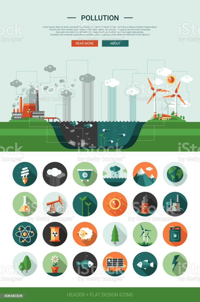 Flat design ecological icons with header and infographics elements vector art illustration