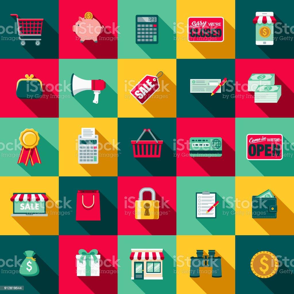 Flaches Design E-Commerce-Icon-Set mit Seite Schatten – Vektorgrafik