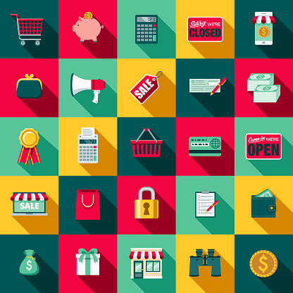 Flat Design Ecommerce Icon Set With Side Shadow Stock Illustration - Download Image Now