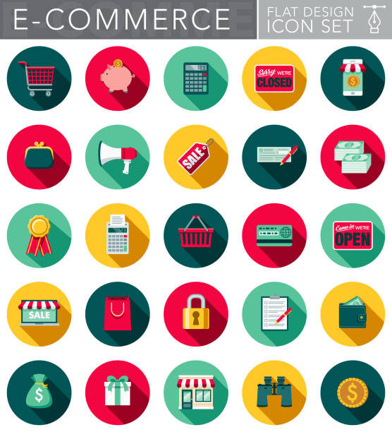 flat design e-commerce icon set with side shadow - flat design icons stock illustrations, clip art, cartoons, & icons