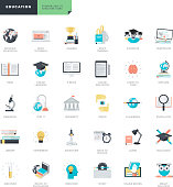 Flat design education icons for graphic and web designers