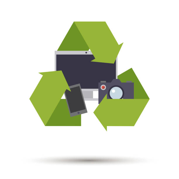 Flat design electronic devices recycling symbol vector Flat design used electronic devices recycling vector icon electrical equipment stock illustrations
