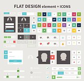 Flat design elements with icons