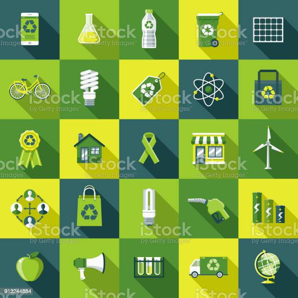 Flat Design Environmental Icon Set With Side Shadow Stock Illustration - Download Image Now