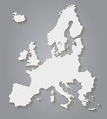 Flat Design Europe Paper Map