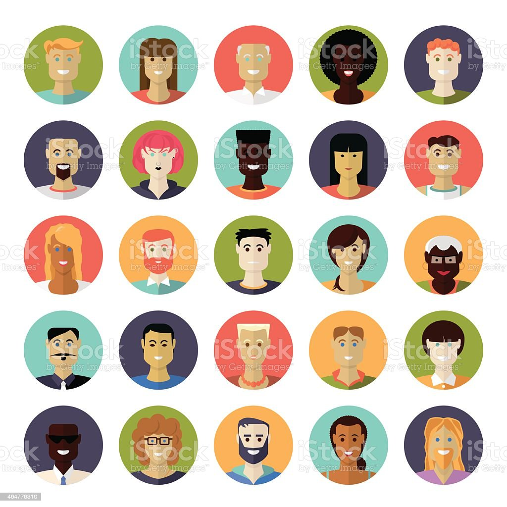 Flat Design Everyday People Avatar Vector Icon Set vector art illustration