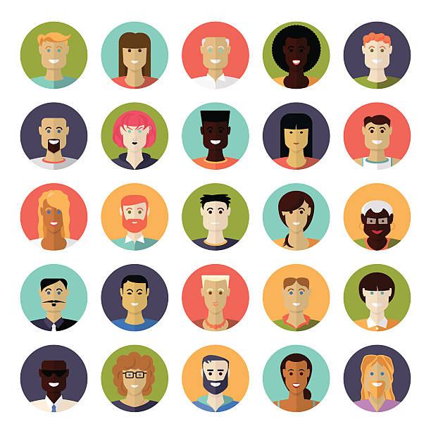 flat design everyday people avatar vector icon set - old man in black stock illustrations, clip art, cartoons, & icons