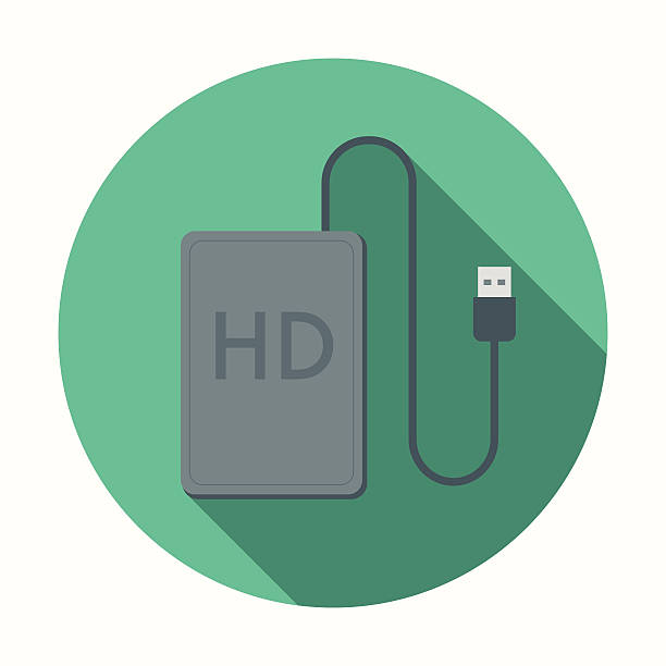 Flat Design External Hard Drive Icon With Long Shadow A trendy flat design style external hard drive icon with a long shadow. Download includes RGB JPEG at 4000px and a fully editable AI10 vector EPS file. external hard disk drive stock illustrations