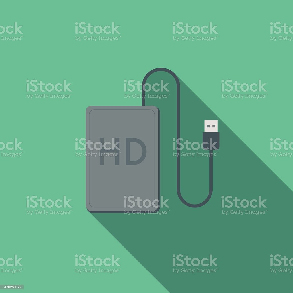 Flat Design External Hard Drive Icon With Long Shadow vector art illustration