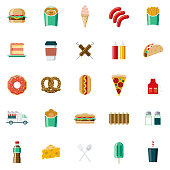 A set of 25 fast food flat design icons on a transparent background. File is built in the CMYK color space for optimal printing. Color swatches are Global for quick and easy color changes.