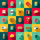 A set of flat design styled fast food icons with a long side shadow. Color swatches are global so it's easy to edit and change the colors.