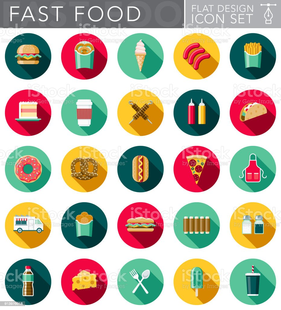 Flat Design Fast Food Icon Set with Side Shadow vector art illustration