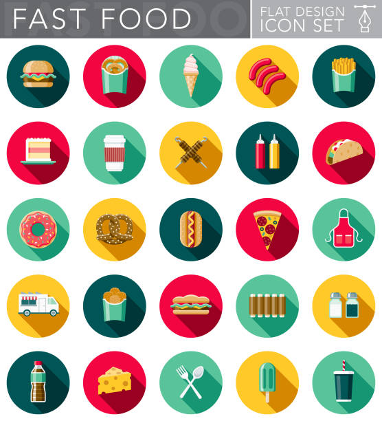 Flat Design Fast Food Icon Set with Side Shadow A set of flat design styled fast food icons with a long side shadow. Color swatches are global so it's easy to edit and change the colors. french fries stock illustrations
