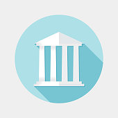 An illustration of flat design financial building icon with long shadow for user interface. File is in JPG RGB format also available as a vector in Eps10 compatible format. Use only simple gradient filled paths and blending modes.