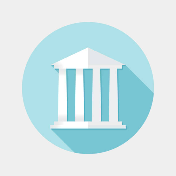 Flat design financial building icon with long shadow An illustration of flat design financial building icon with long shadow for user interface. File is in JPG RGB format also available as a vector in Eps10 compatible format. Use only simple gradient filled paths and blending modes. civil servant stock illustrations