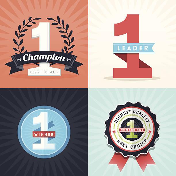 bildbanksillustrationer, clip art samt tecknat material och ikoner med flat design first place winner ribbons and badges - nummer 1