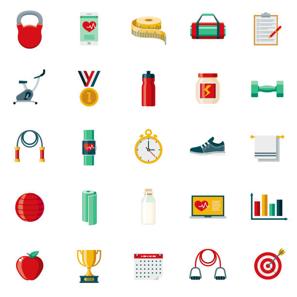 flat design fitness icon set - workout calendar stock illustrations, clip art, cartoons, & icons