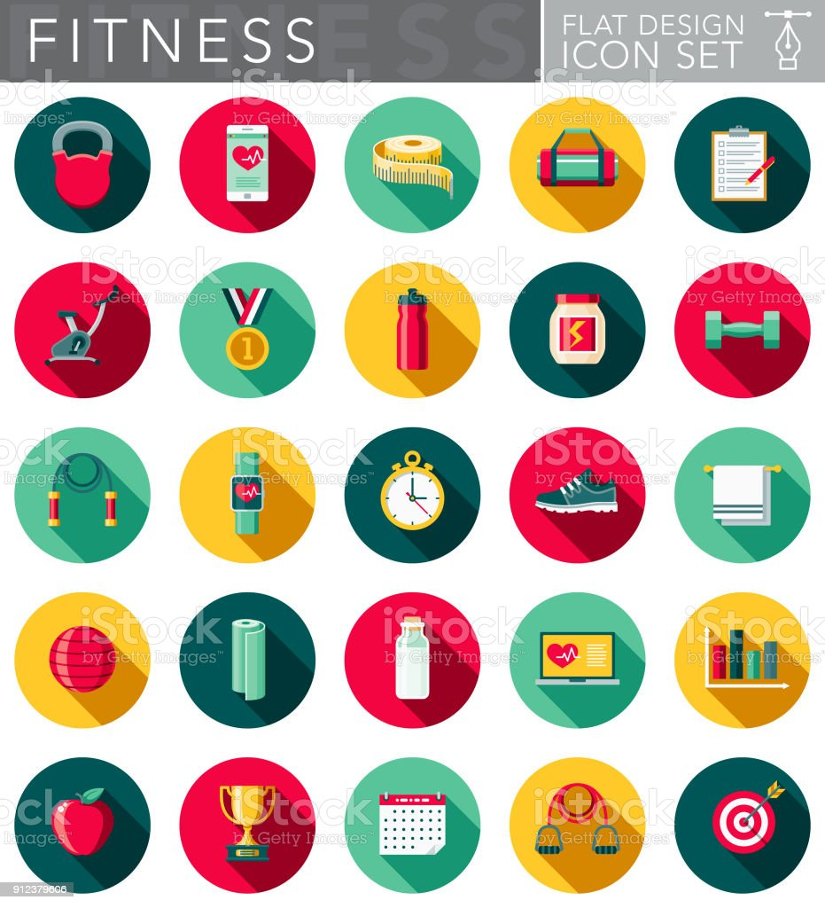 Flat Design Fitness Icon Set with Side Shadow vector art illustration