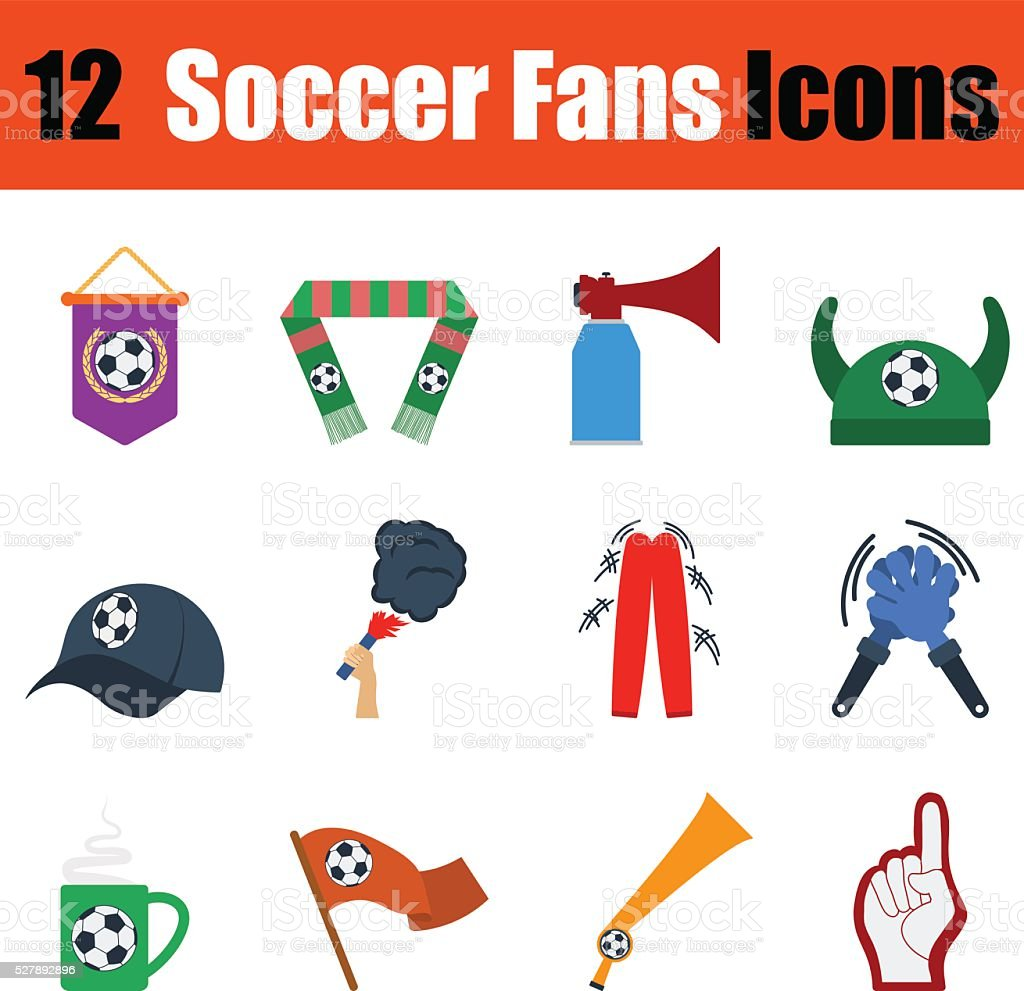 Flat design football fans icon set vector art illustration