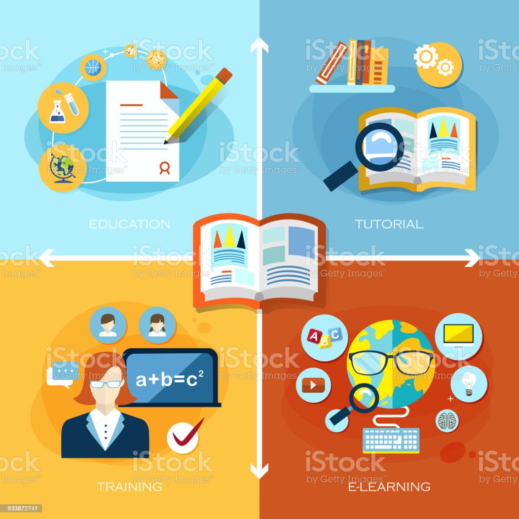 flat design for education and learning concept vector art illustration