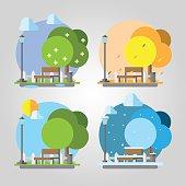 Flat design four seasons park illustration