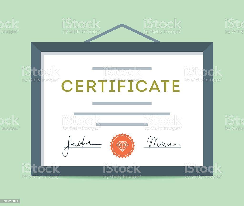 Diseño plano enmarcada certificado colgar en la pared - ilustración de arte vectorial