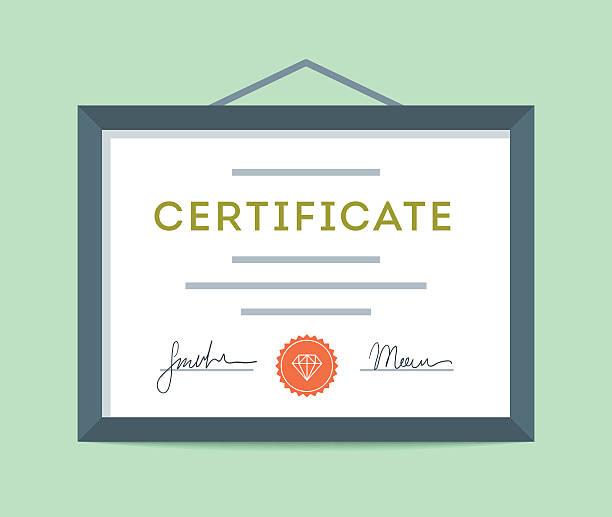 ilustraciones, imágenes clip art, dibujos animados e iconos de stock de diseño plano enmarcada certificado colgar en la pared - marcos de certificados y premios