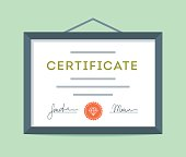 Flat design framed certificate hanging on the wall