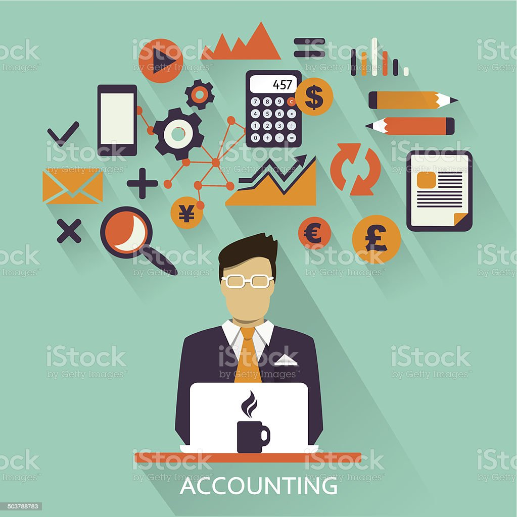 Flat design . Freelance career. Accounting. vector art illustration