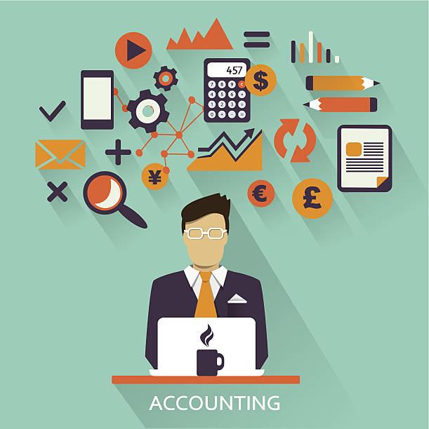 ilustraciones, imágenes clip art, dibujos animados e iconos de stock de diseño plano.  freelance carrera profesional.  contabilidad. - asesor financiero