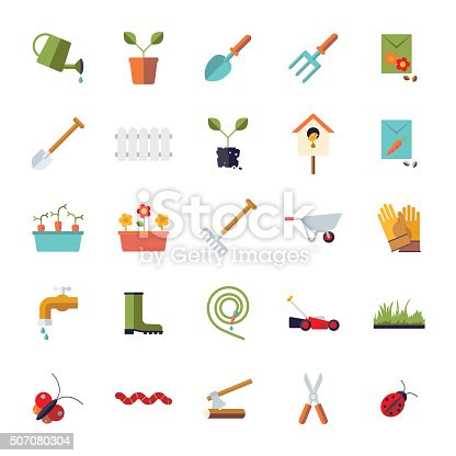 Collection of isolated flat design gardening vector icons
